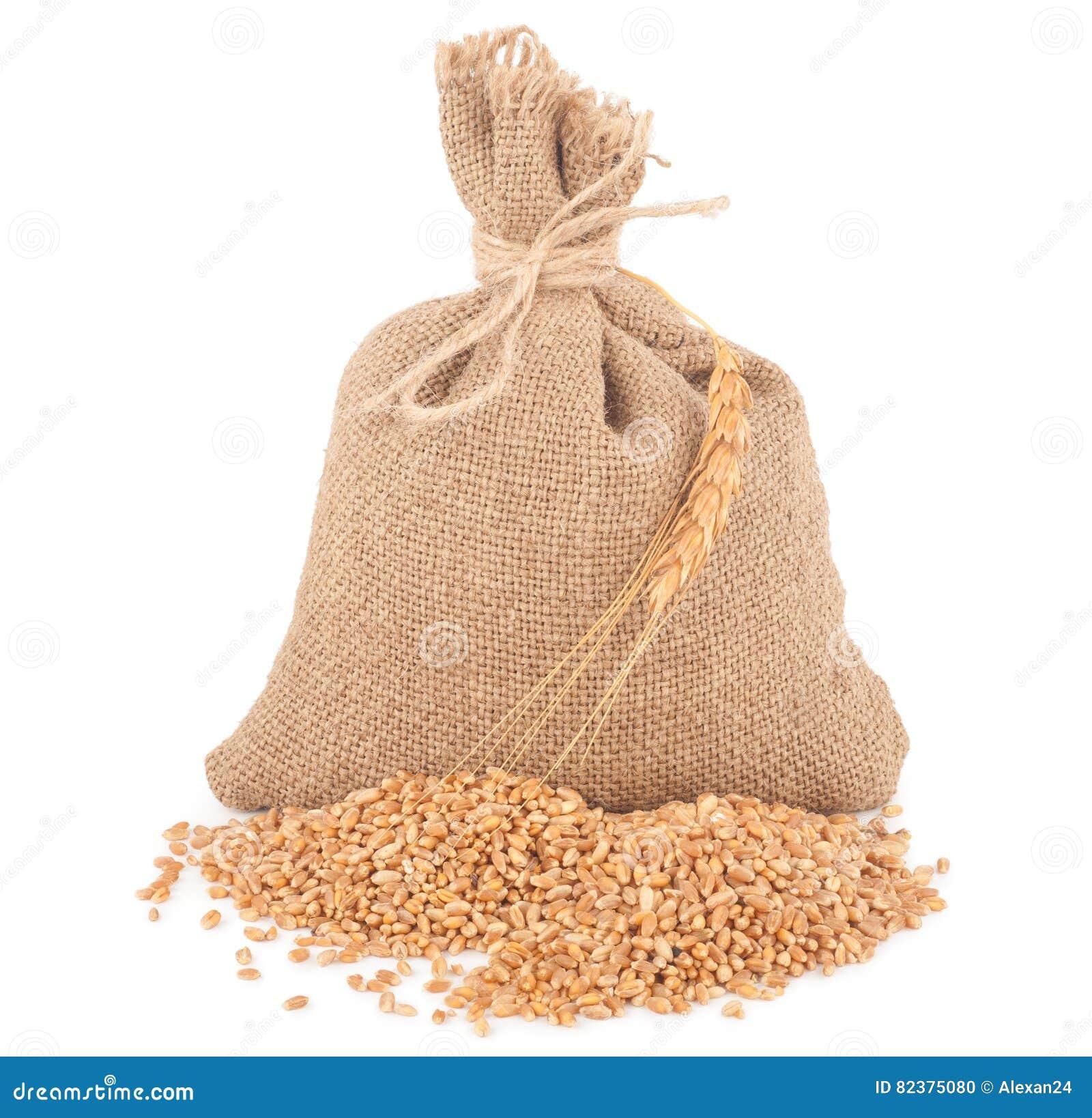 Sack of wheat grains stock photo. Image of kernels, bulgar ...