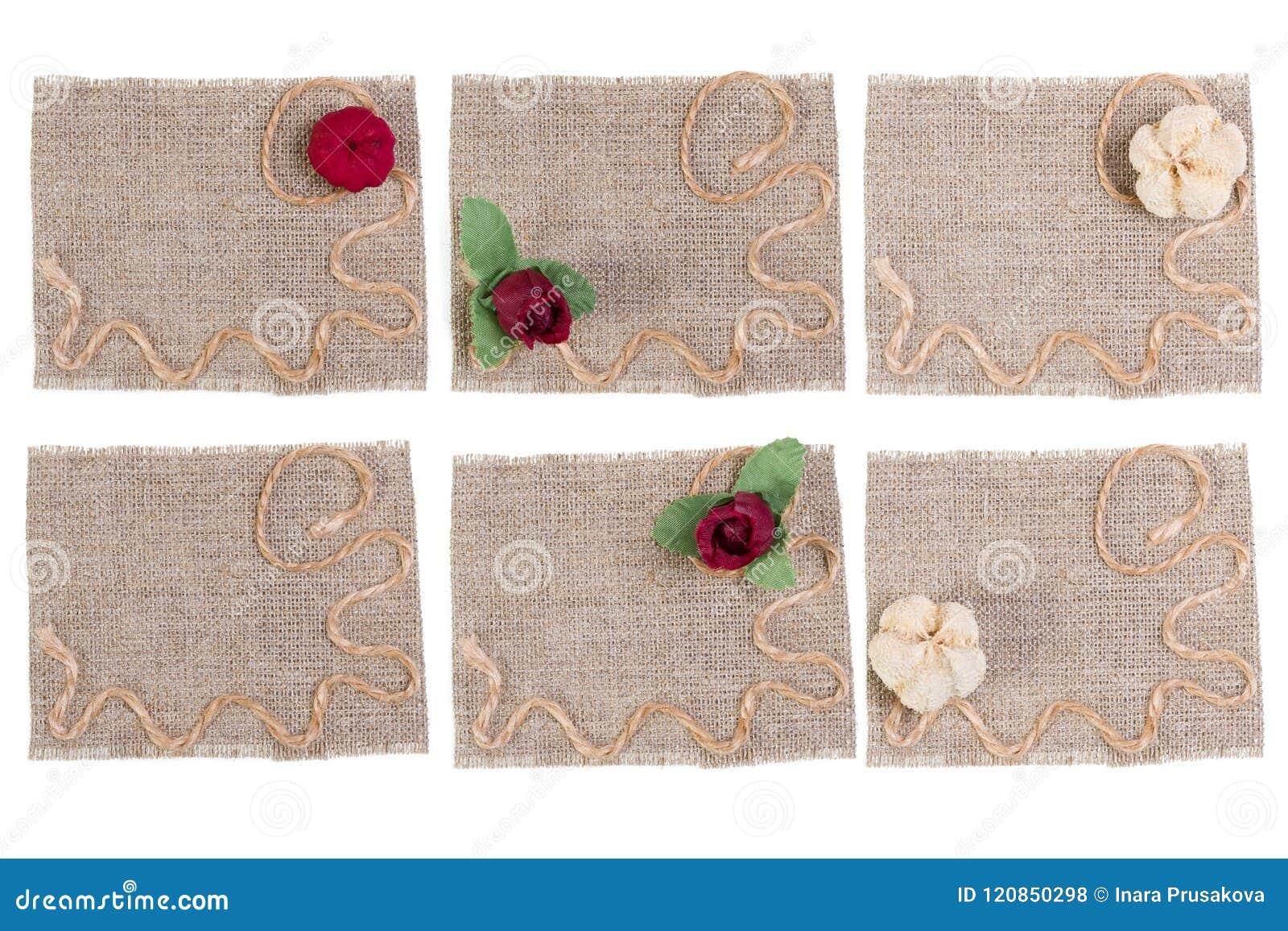 Sackcloth και λουλουδιών διακόσμηση, Burlap σύνολο μπαλωμάτων ετικετών υφάσματος, αγροτικό κομμάτι υφασμάτων σάκων