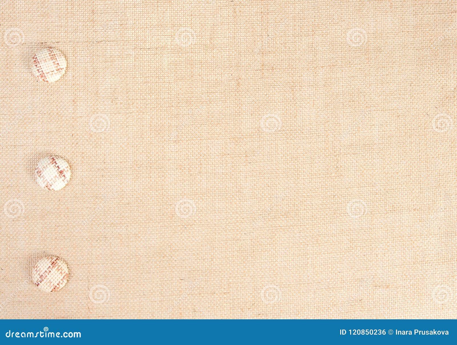 Sackcloth υπόβαθρο σύστασης υφάσματος και διακόσμηση κουμπιών, Burlap ύφασμα σάκων
