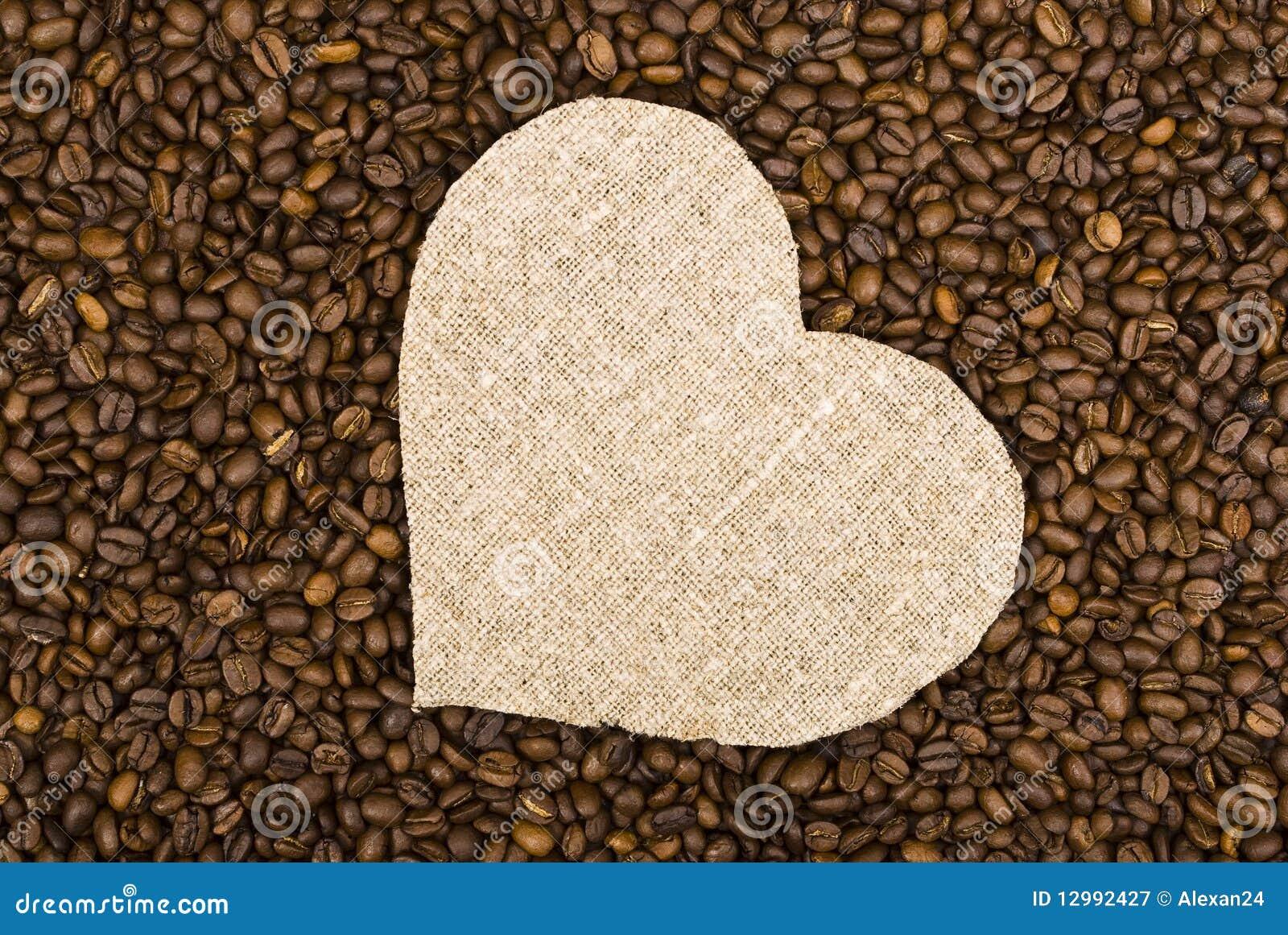 Sackcloth heart on coffee beans