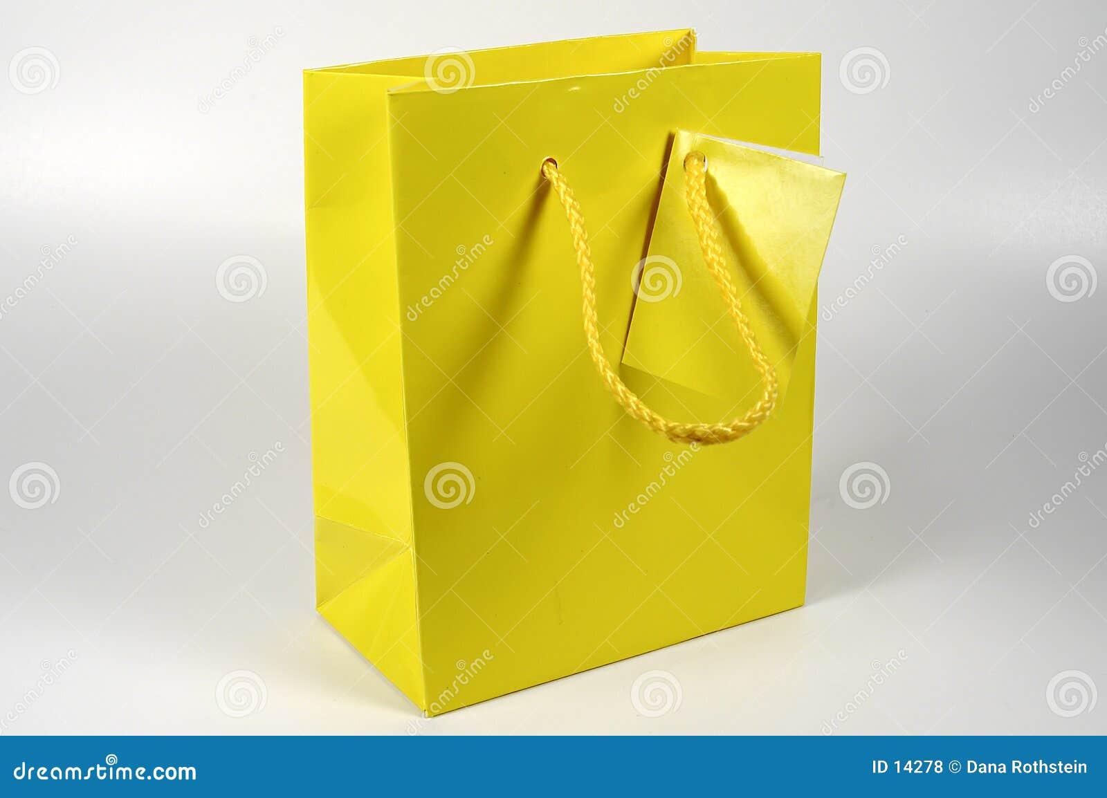 Saco amarelo do presente