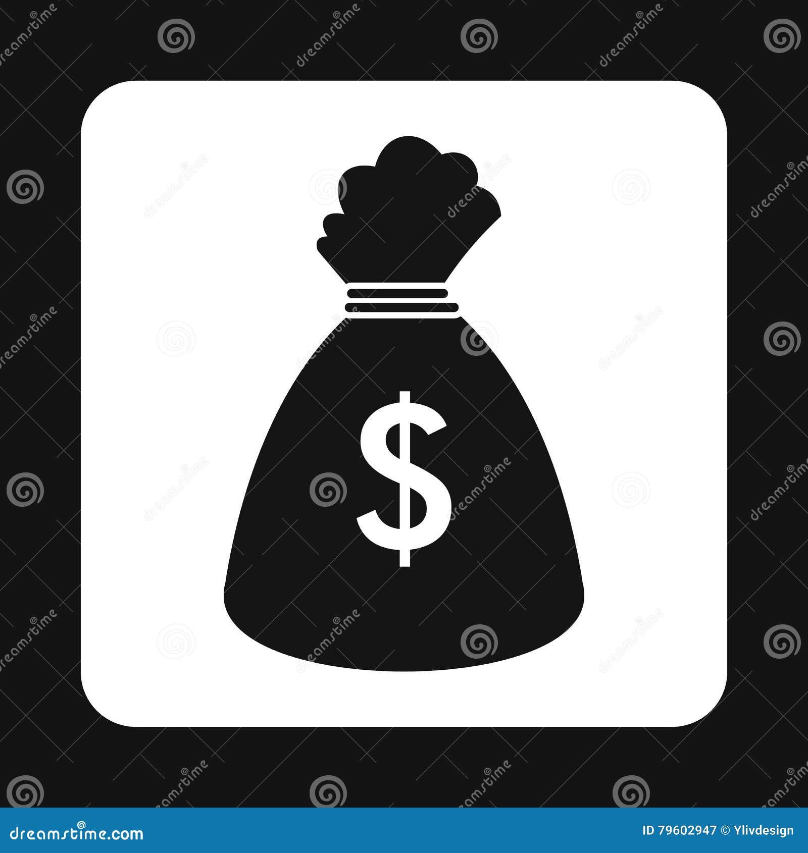 Saco com ícone dos dólares, estilo simples