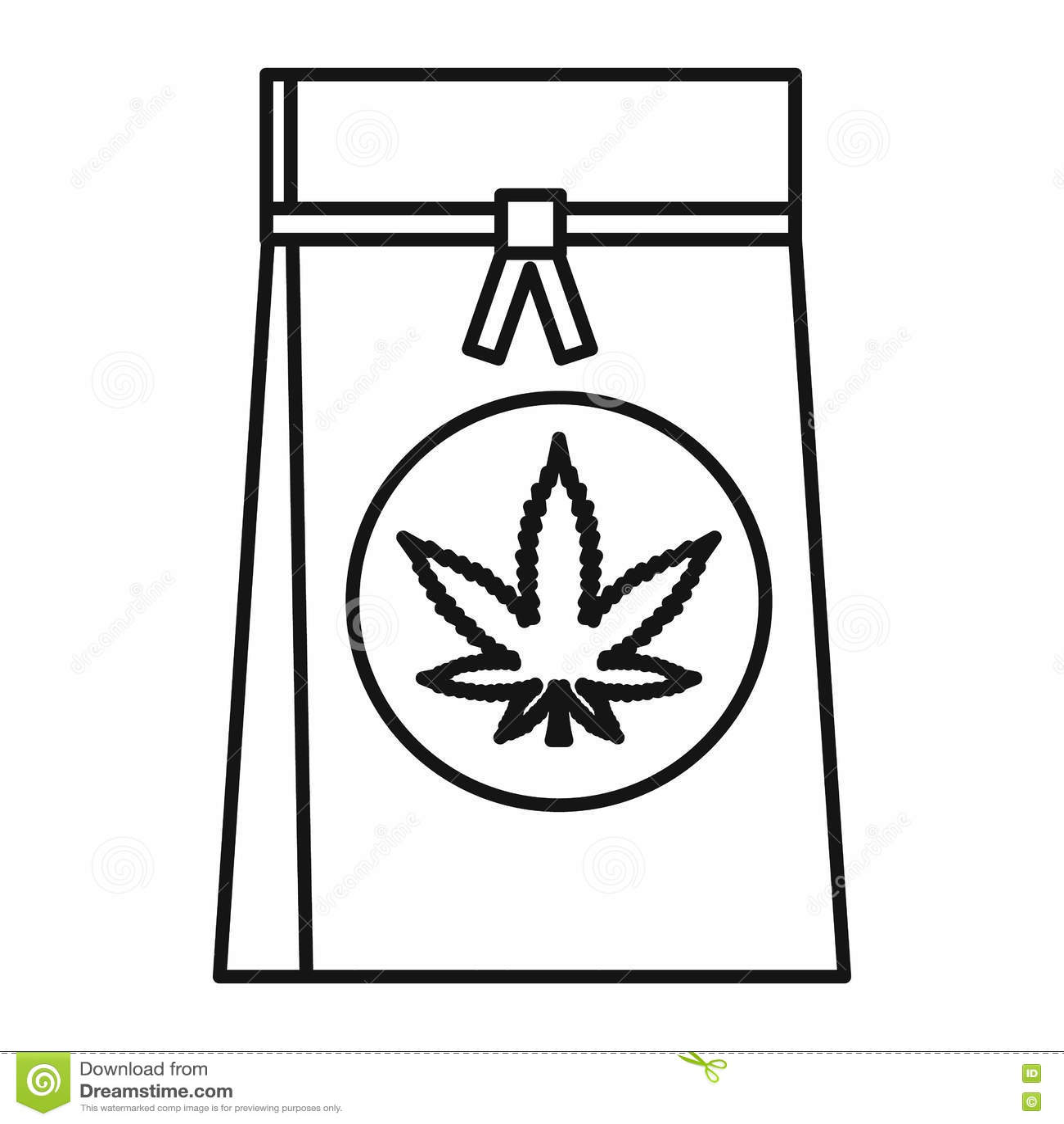 Saco da loja com ícone da folha da marijuana, estilo do esboço