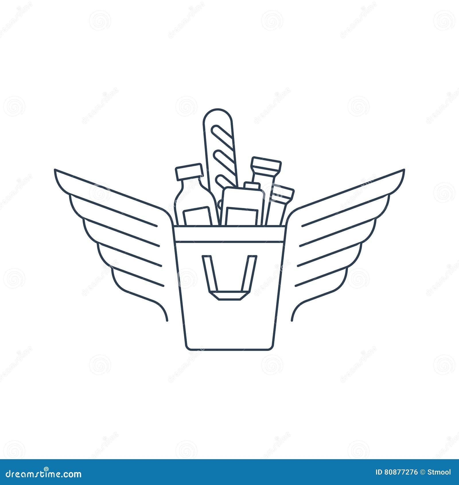 Saco de compras com ícone e logotipo do alimento
