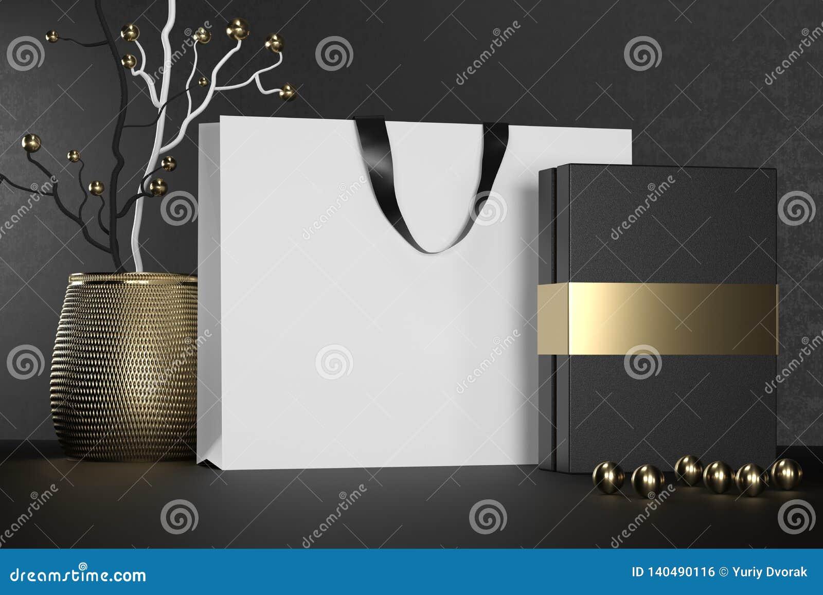 Saco de compras de papel de marcagem com ferro quente branco com punhos e zombaria luxuosa da caixa negra acima Pacote branco sup