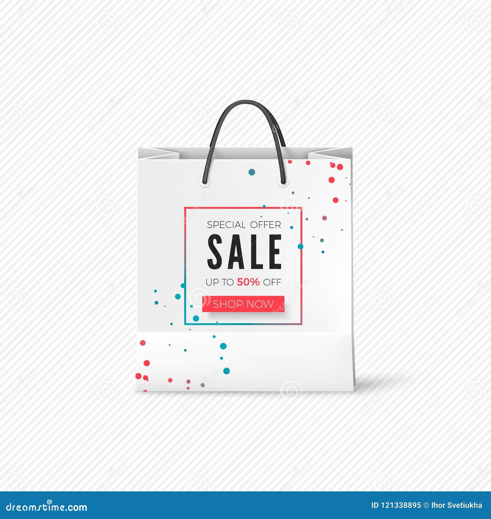 Saco de papel branco com oferta da venda Saco vazio com vendas de propaganda Vetor