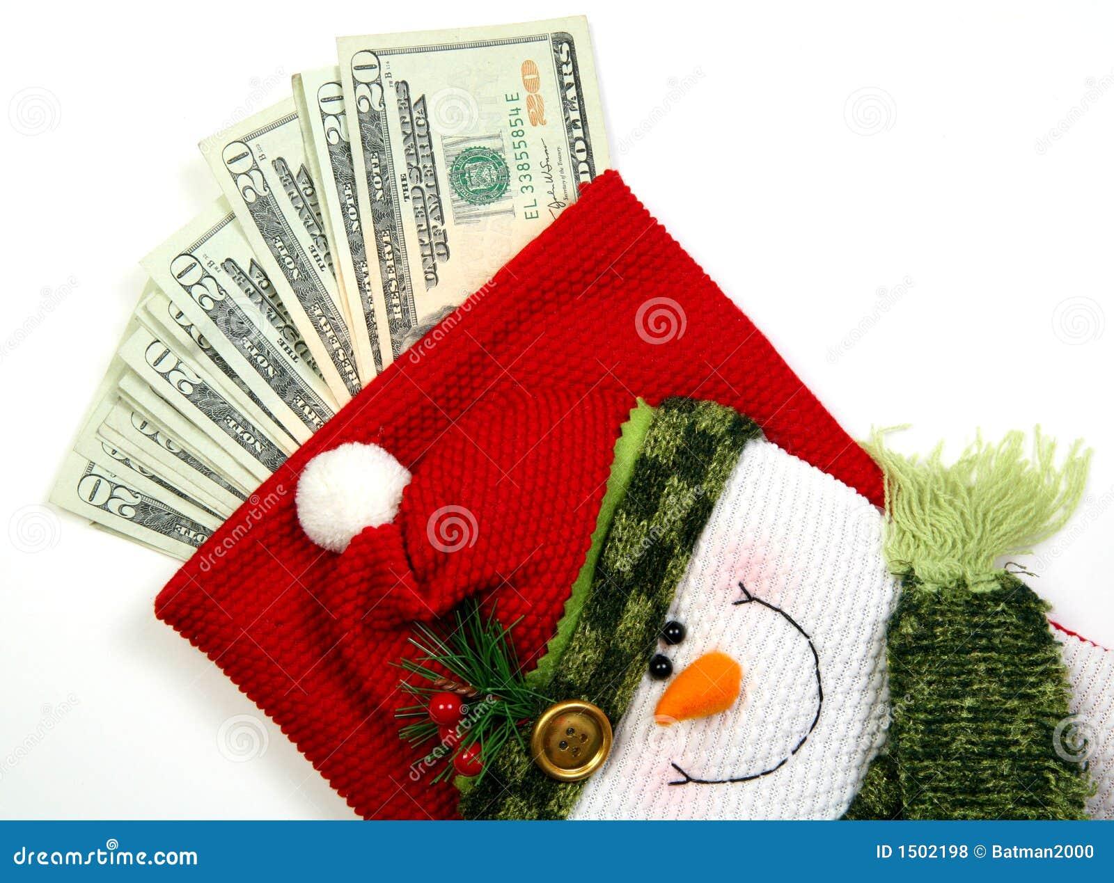 Saco do dinheiro do boneco de neve