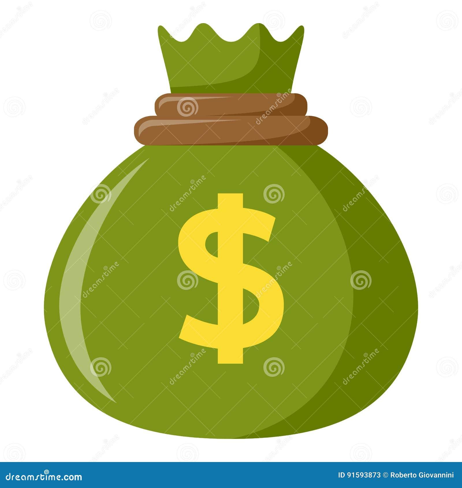 Saco verde de icono plano del dinero en blanco