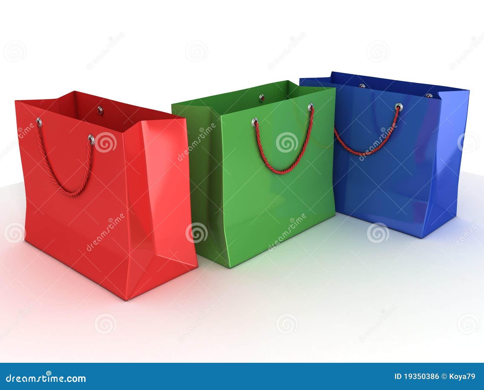 Sacos de compra coloridos