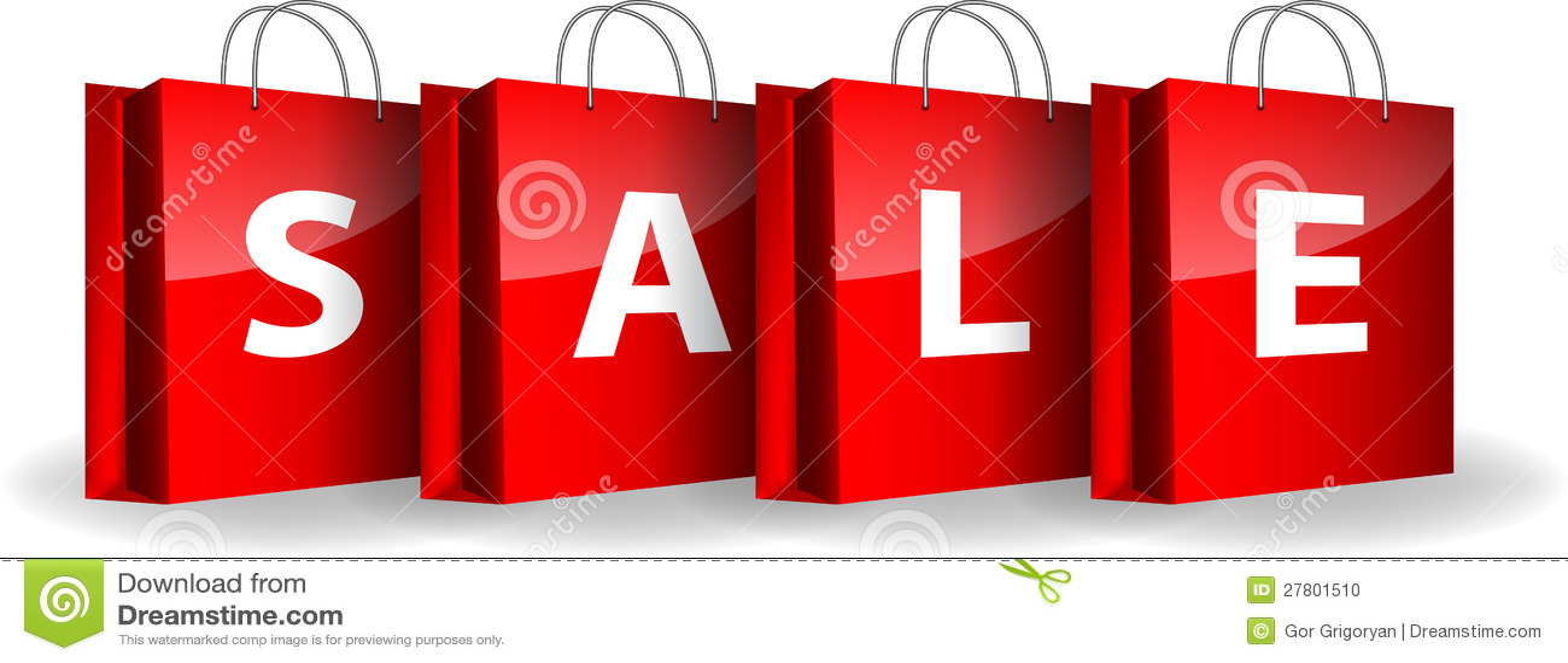Sacos de compra vermelhos com a venda da palavra