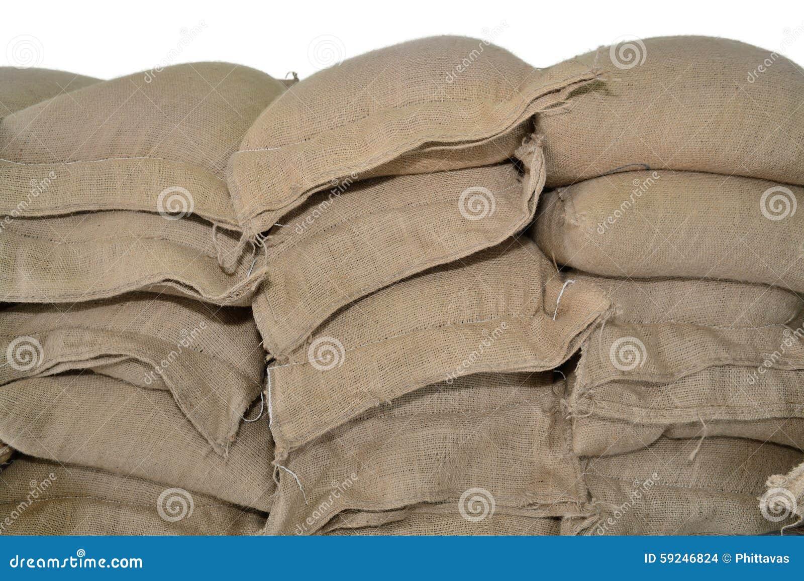 Sacos del cáñamo que contienen el arroz