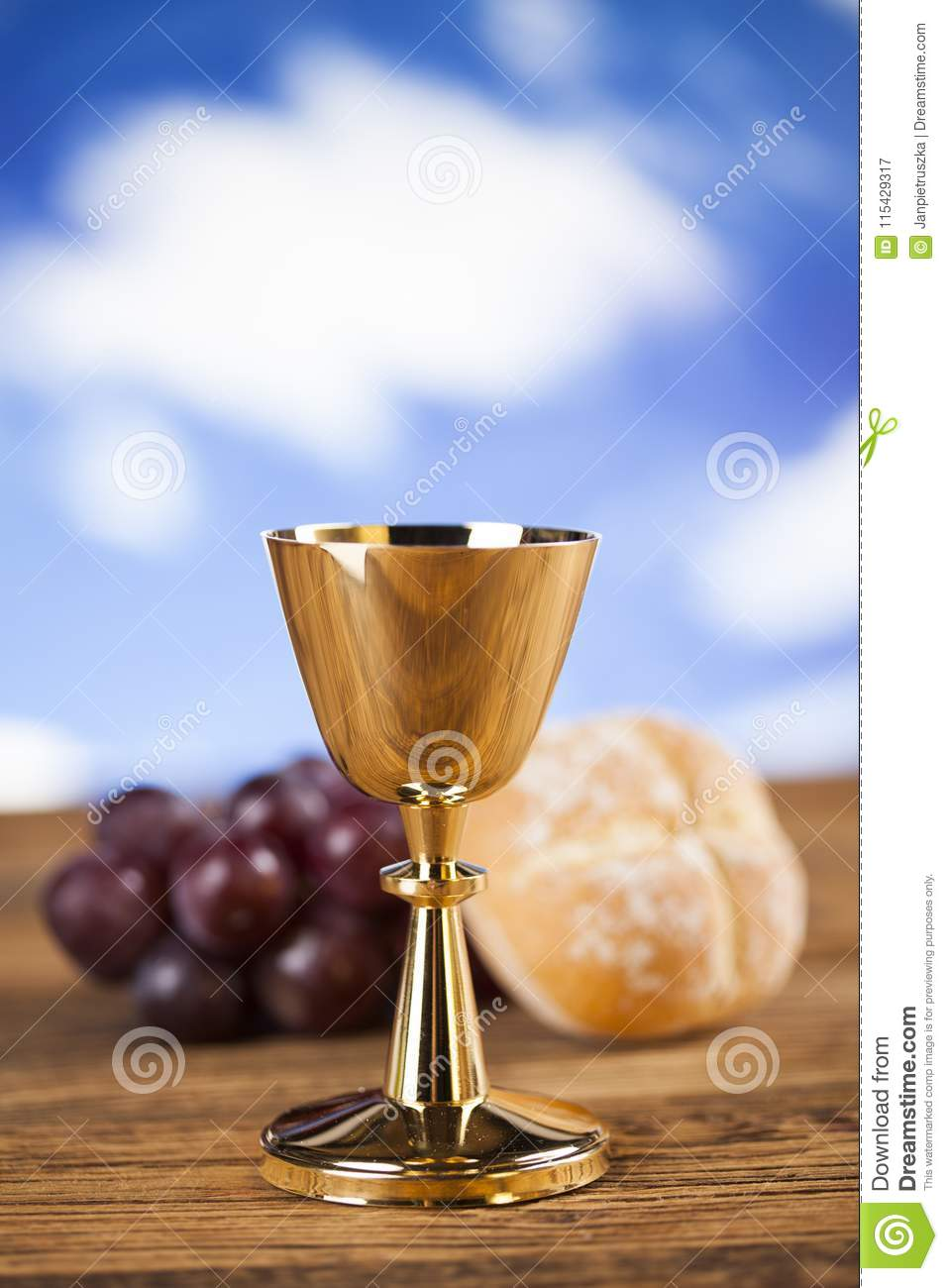 eucharist symbol of bread and wine chalice and host first comm