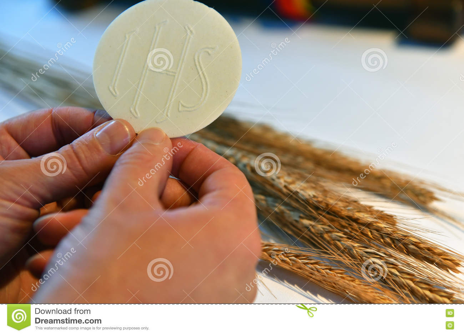 Sacramental bread and wheat.