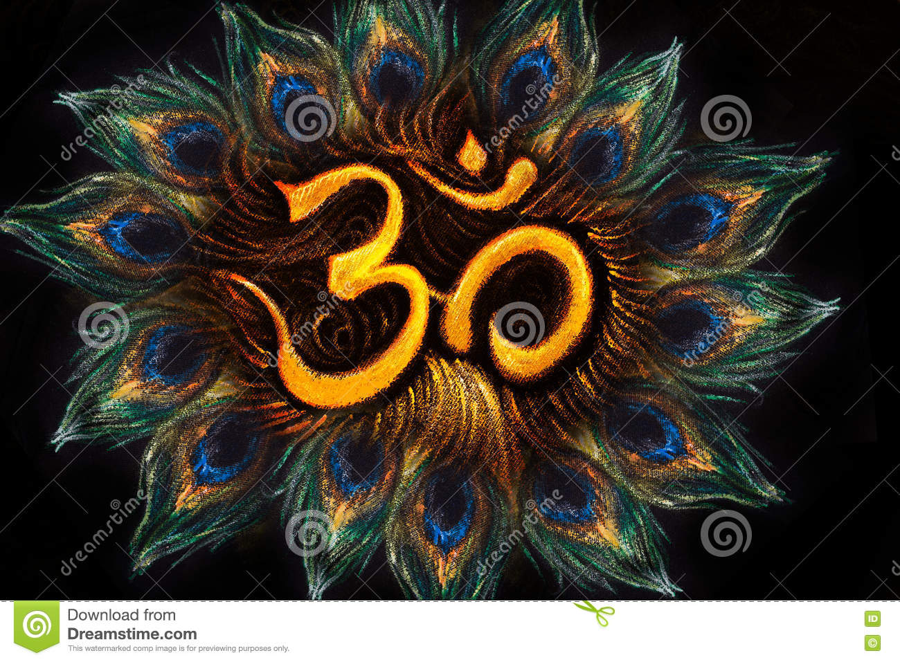Sacred aum sanskrit symbol in circle of peacock feathers