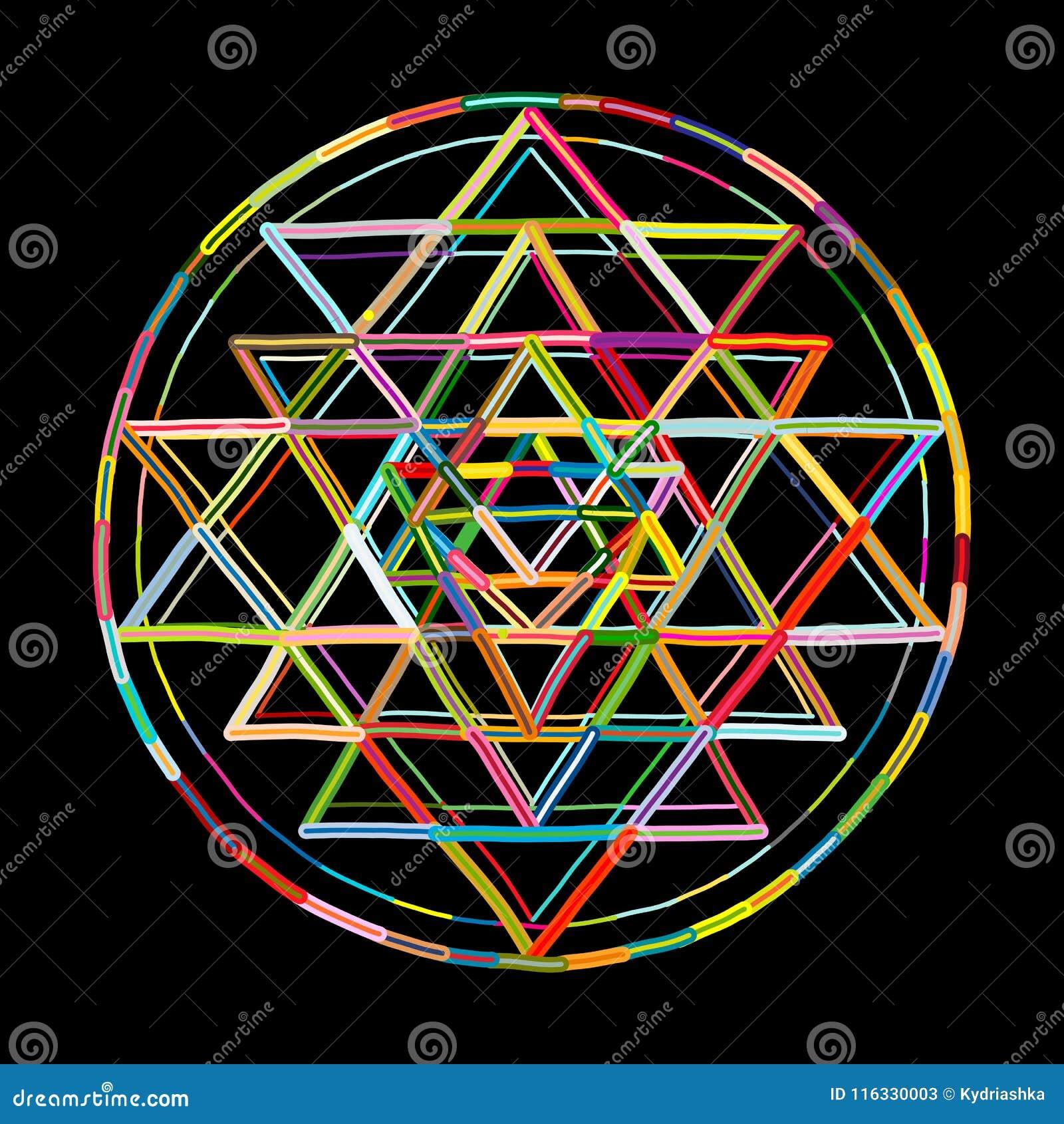 Sacred Geometry And Alchemy Symbol Sri Yantra  Hand Drawn
