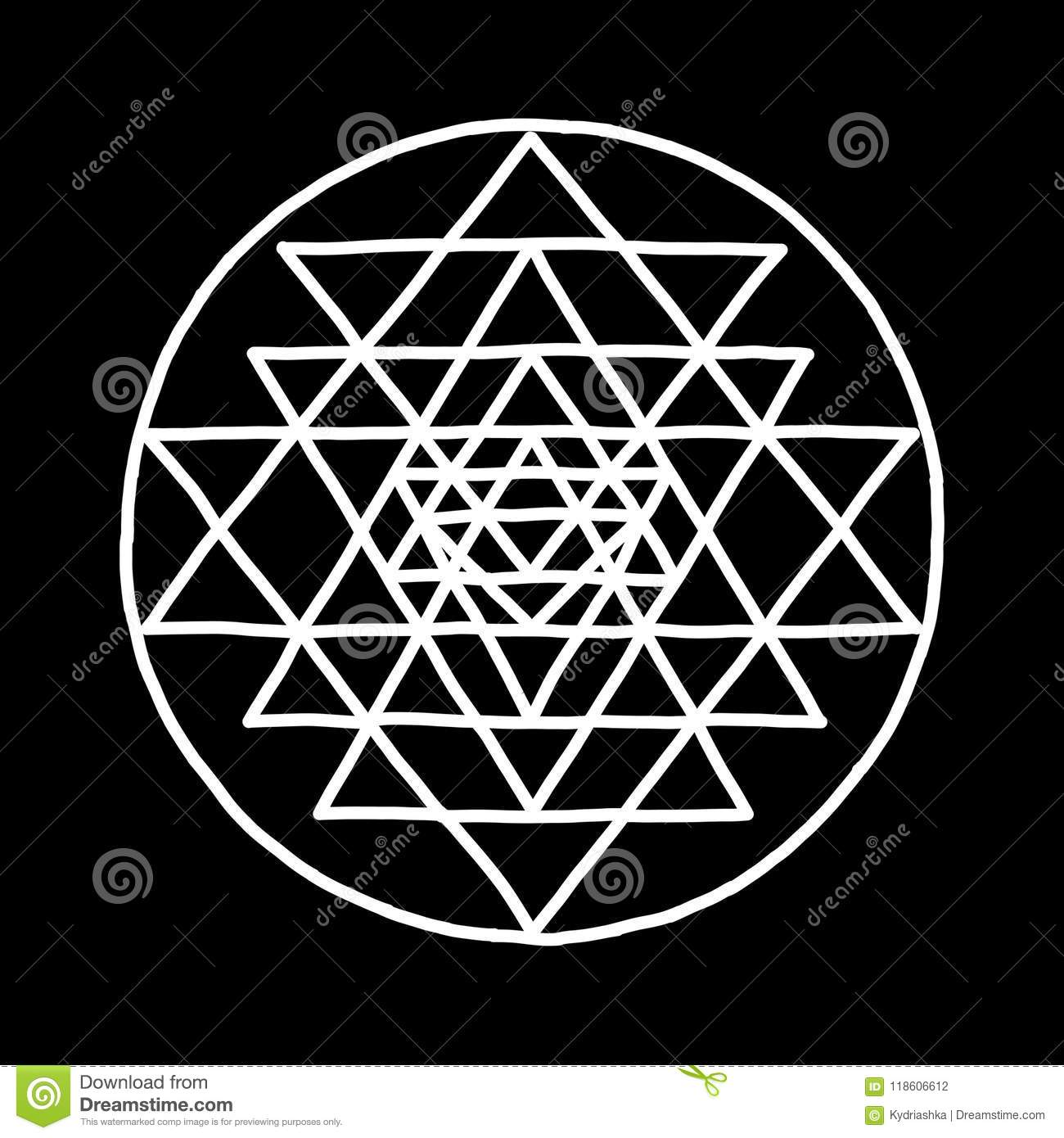 Sacred Geometry And Alchemy Symbol Sri Yantra  Hand Drawn