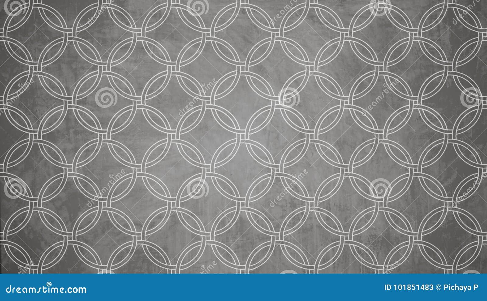 Sacred geometry circle stamp pattern shape on wall pattern texture.