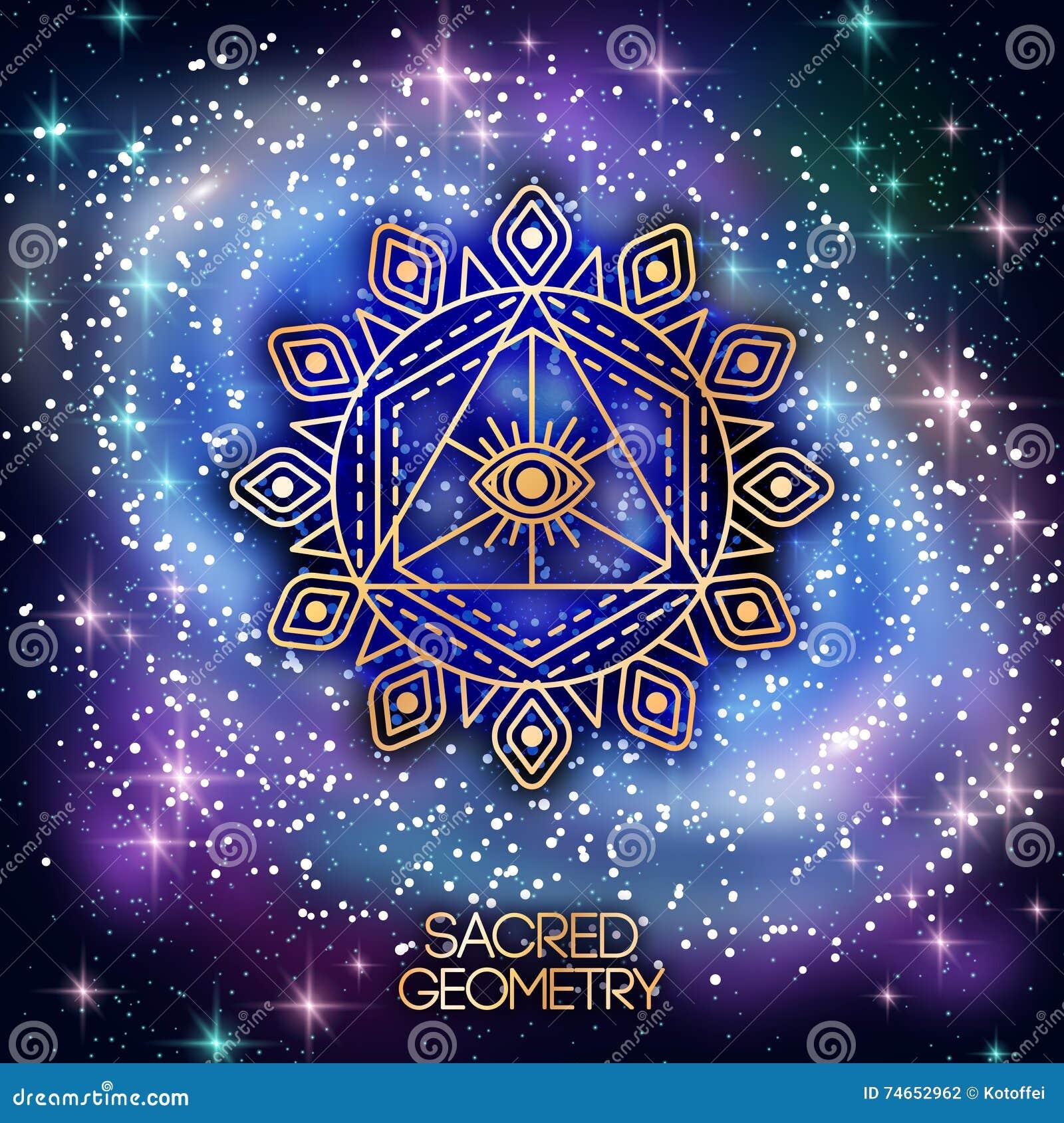 Sacred Geometry Emblem With Eye On Shining Galaxy Stock