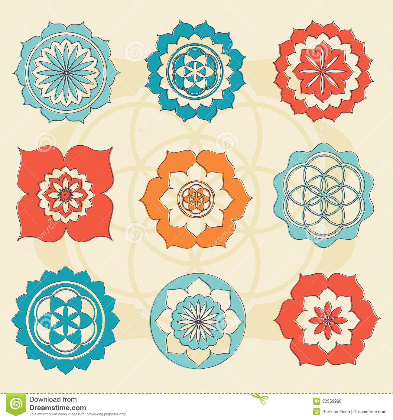 Sacred Geometry Flower Of Life Symbols Stock Vector Illustration
