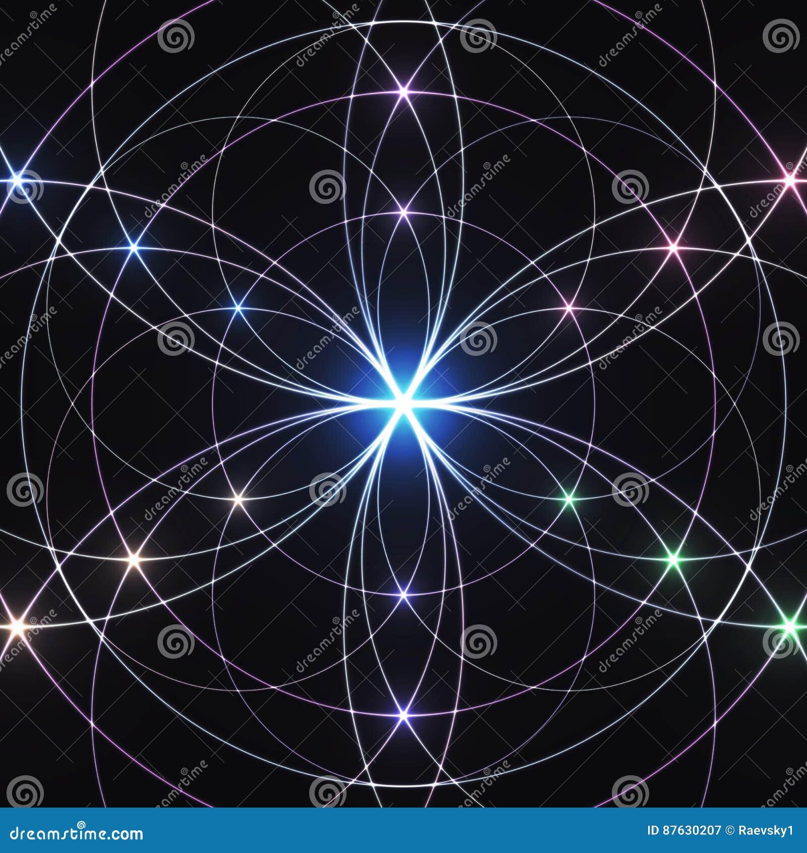 Sacred geometry, glowing geometrical ornament. Mystical background.