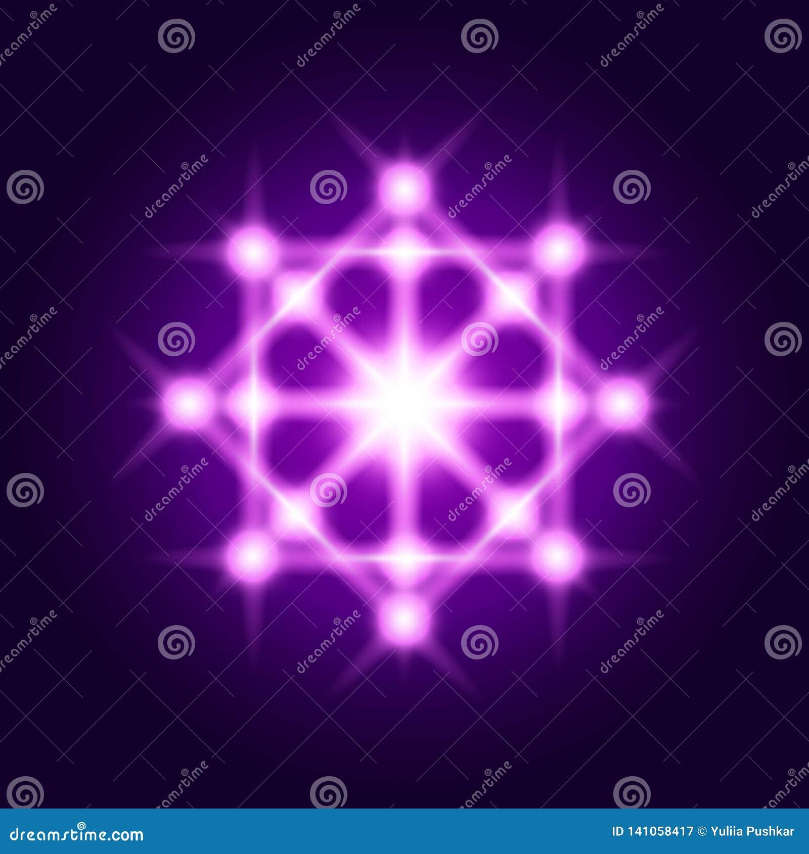 Sacred geometry sign. Vector shine geometrical symbol