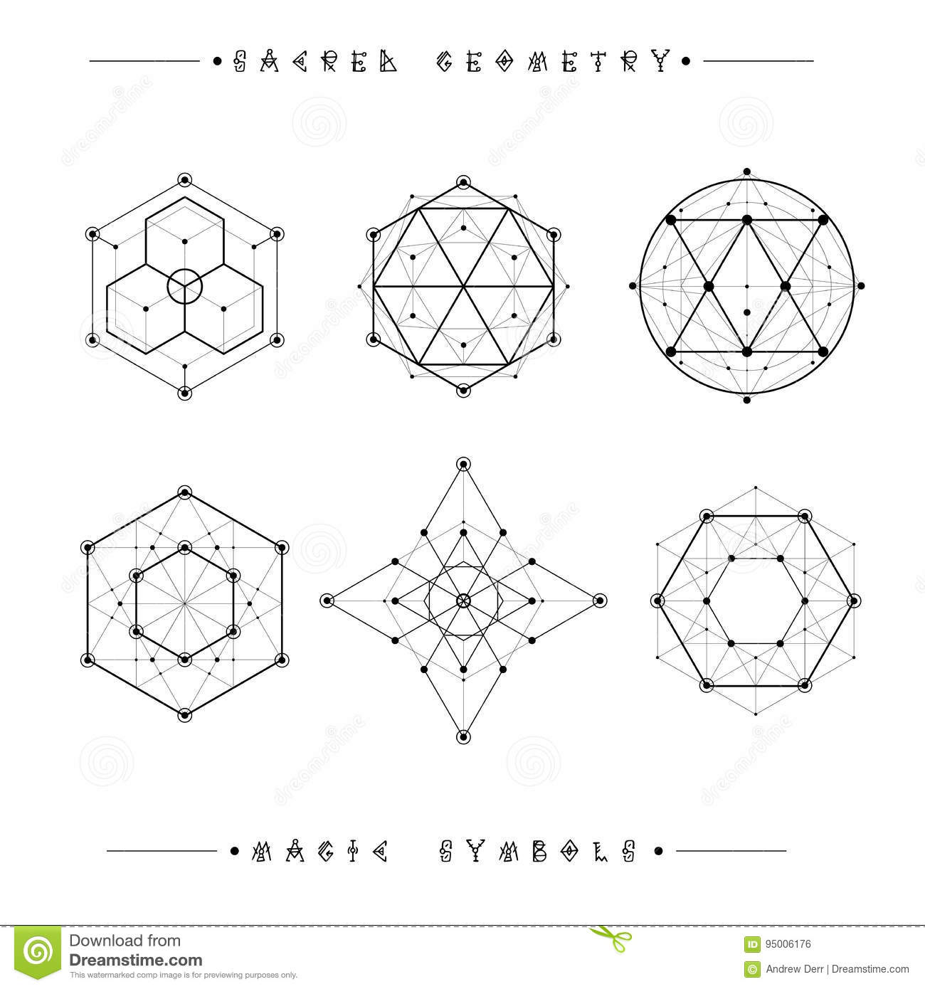 Sacred Geometry Signs Set Of Symbols And Elements Stock Vector