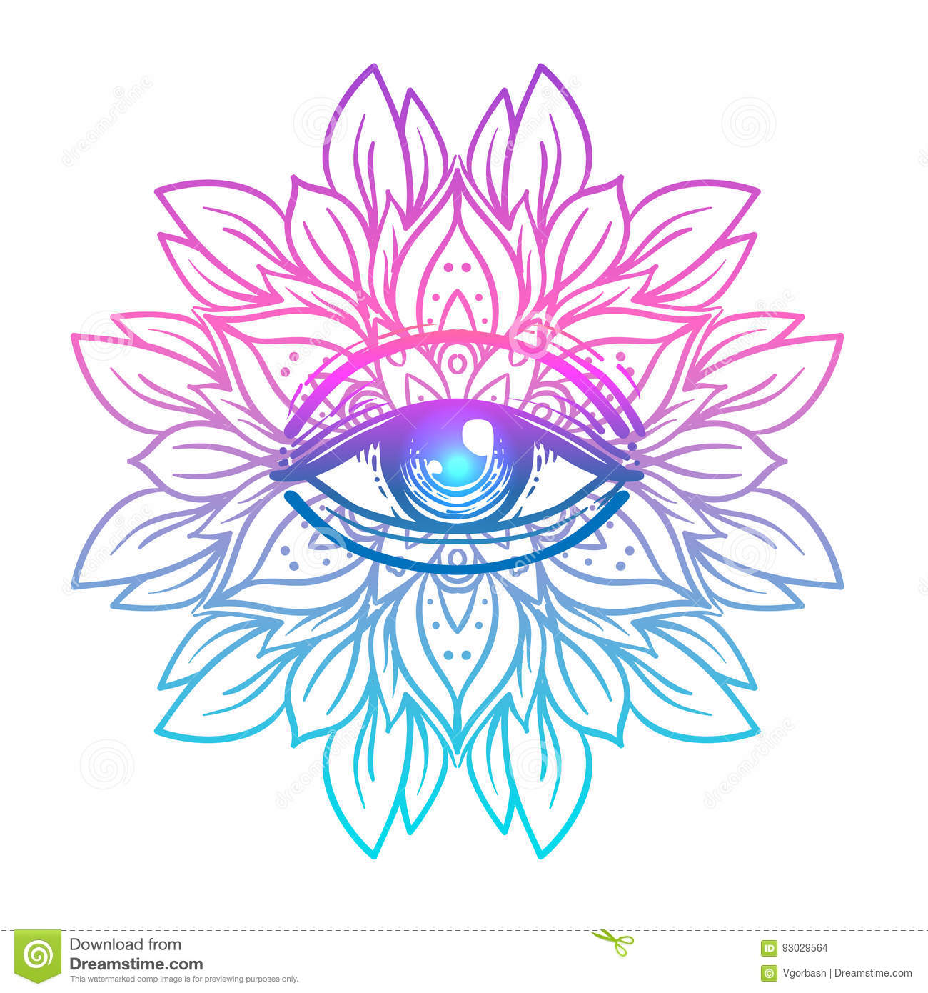 Sacred geometry symbol with all seeing eye in acid colors. Mystic, alchemy, occult concept. Design for indie music
