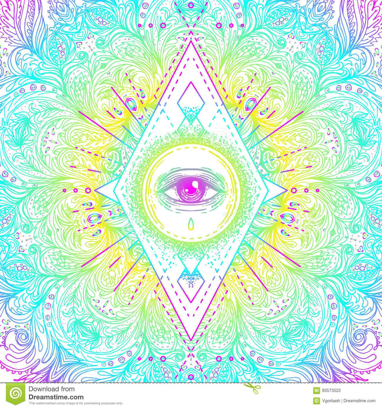 Freemason stock illustrations 555 freemason stock illustrations sacred geometry symbol with all seeing eye in acid colors mysti c alchemy buycottarizona