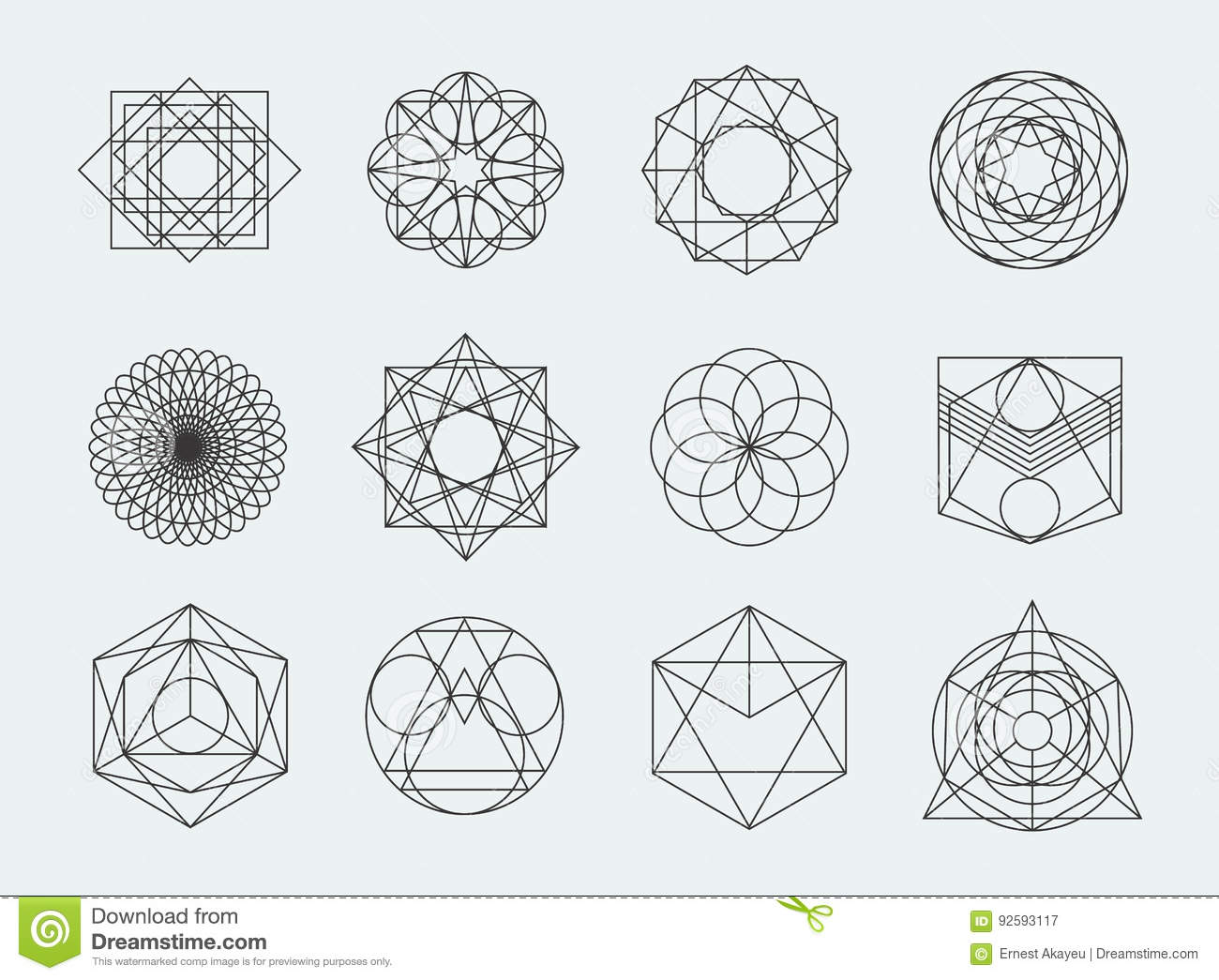 sacred geometry symbols collection set of hipster abstract