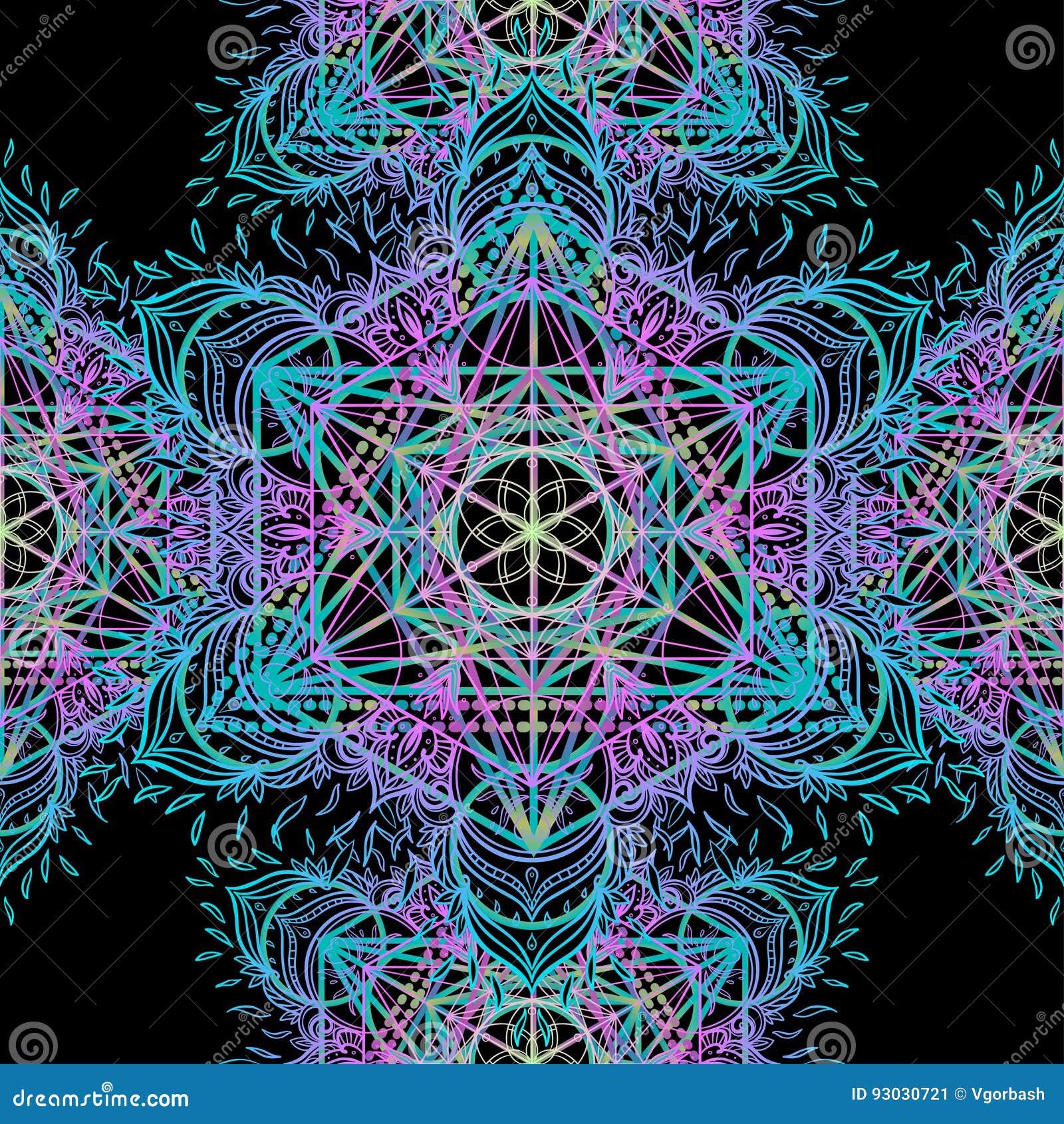 Sacred Geometry Symbols In Mandala Seamless Pattern Vintage Dec