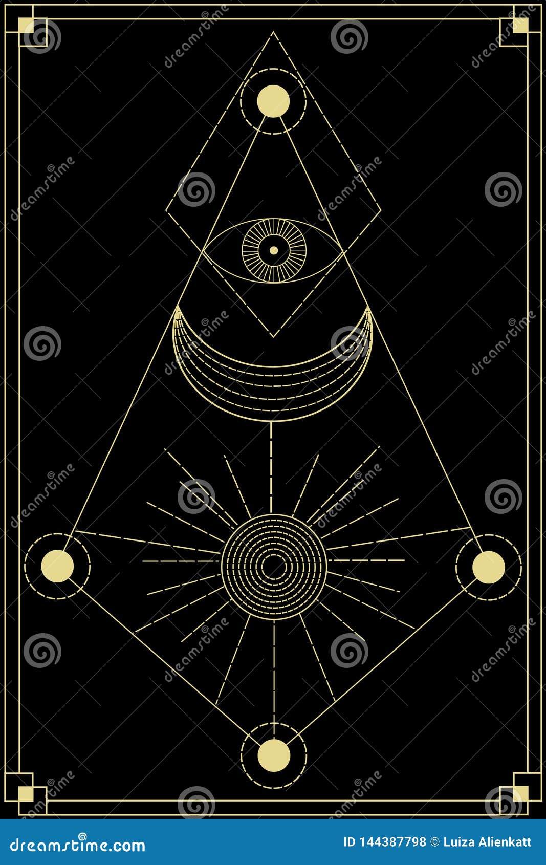 Sacred geometry symbols stock vector  Illustration of black