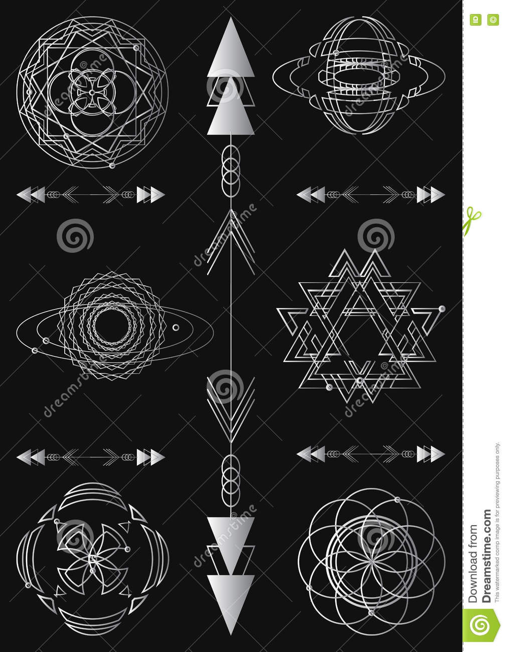 Visual Design Elements : Sacred geometry symbols and elements set vector