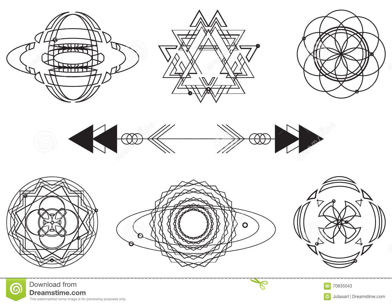 Sacred Geometry, Vector Graphic Design Elements. Set Stock Vector ...