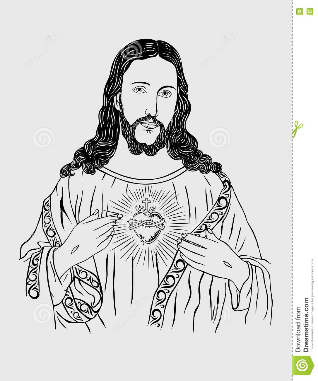 Sacred heart of jesus sketch drawing illustration art vector design