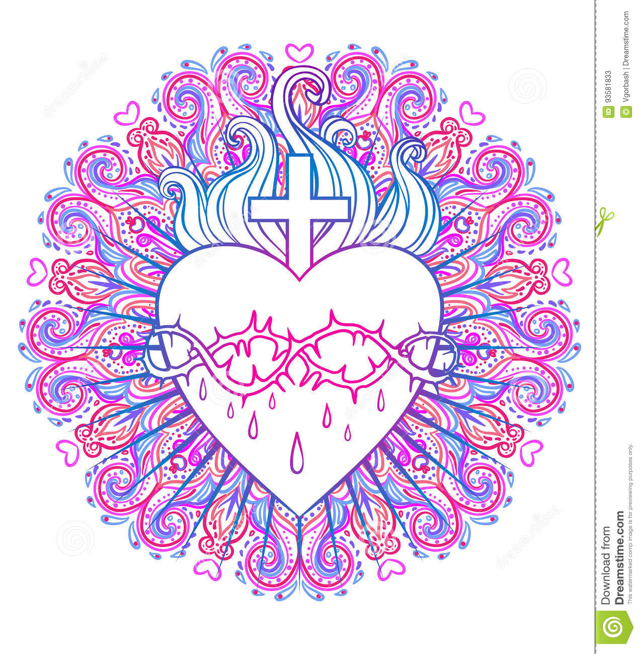 Sacred Heart Of Jesus. Vector Illustration In Vivid Colors Isola ...