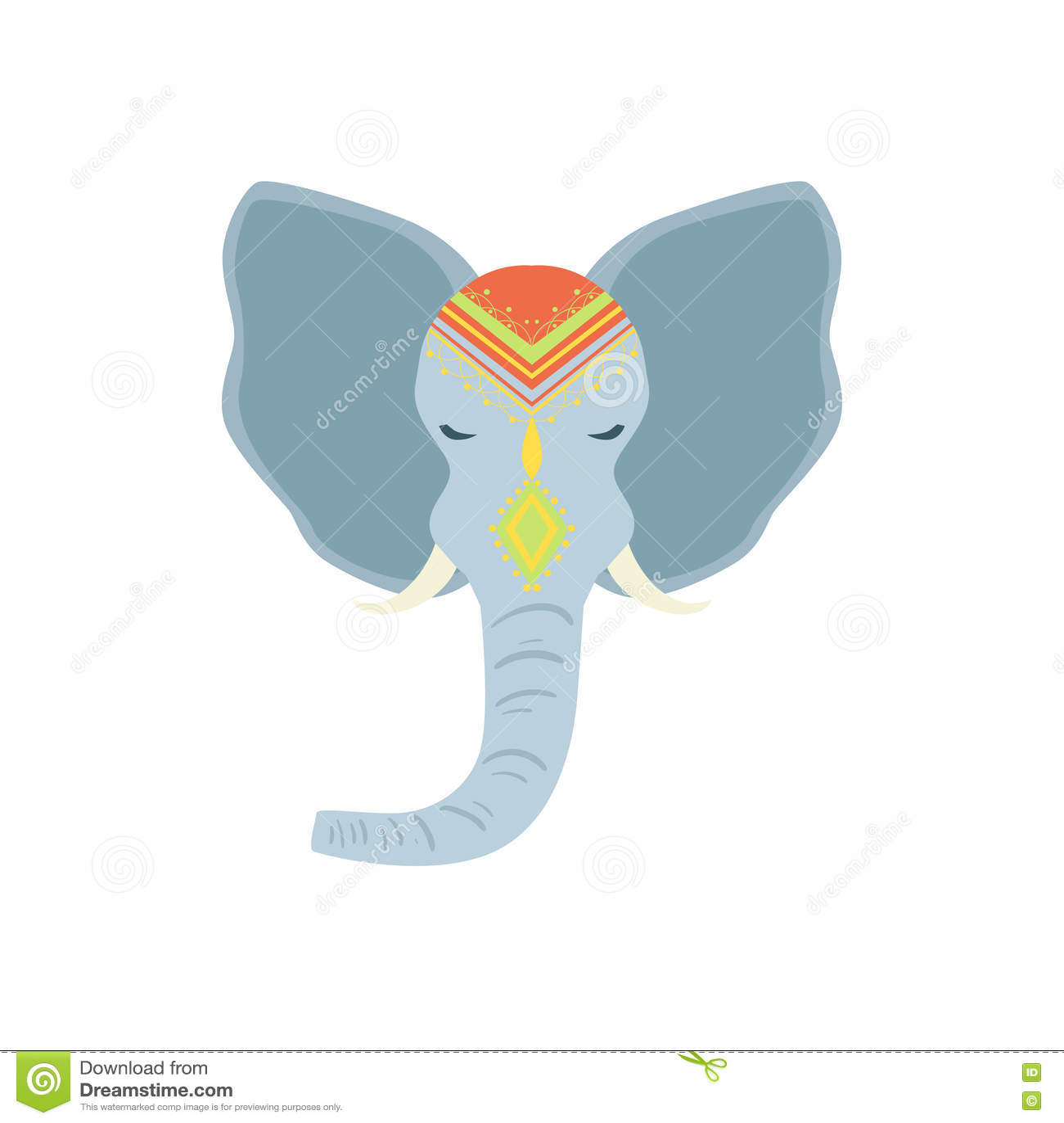 sacred indian elephant head stock vector image 75672243. Black Bedroom Furniture Sets. Home Design Ideas