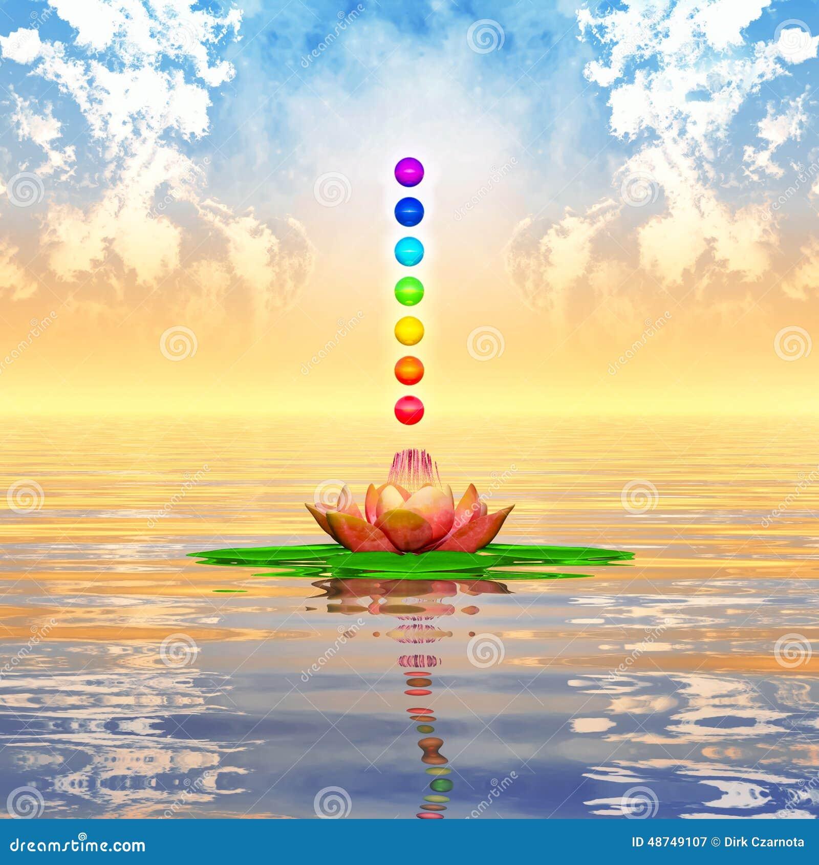 Sacred Lotus And Chakra Spheres Stock Illustration Image