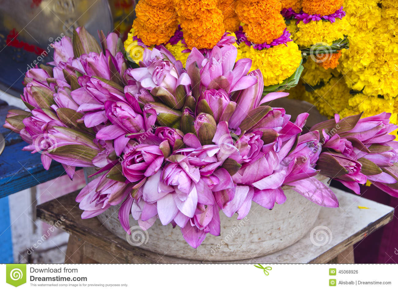 Sacred Lotus Flowers In Asia Market Near Temple India Stock Photo