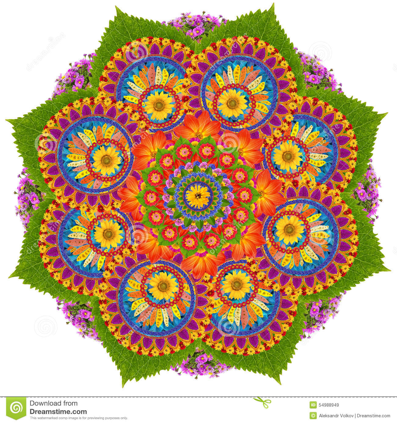 Sacred Lotus Mandala Symbol Stock Photo