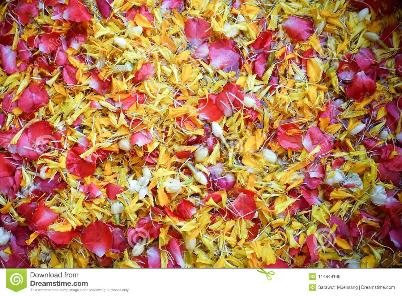 A sacred water made of fresh water spreading by flower petals, used for pouring on the older`s hand during Thai New Year