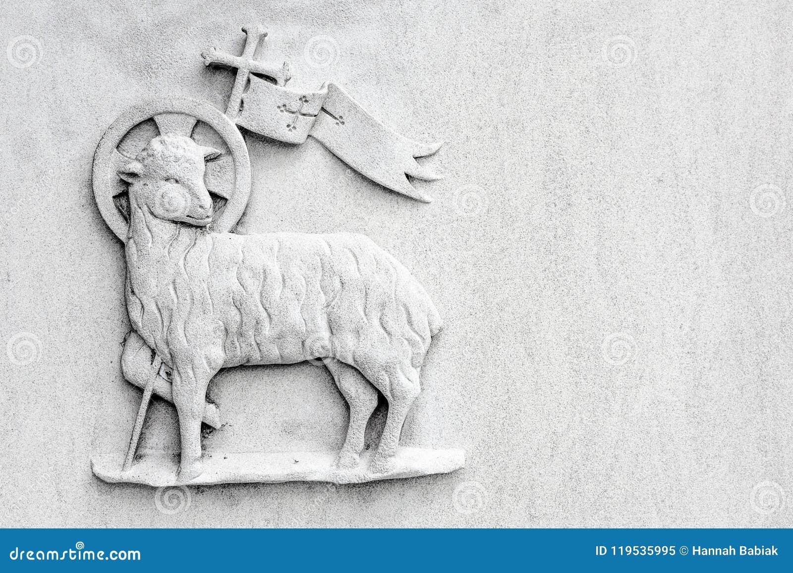 Sacrificial Lamb Religious Symbol On White Background Stock Image