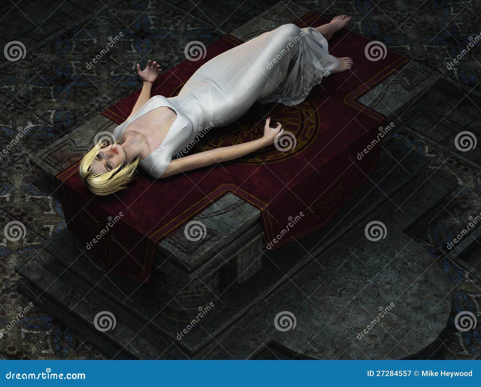 Sacrificial virgin on altar from overhead