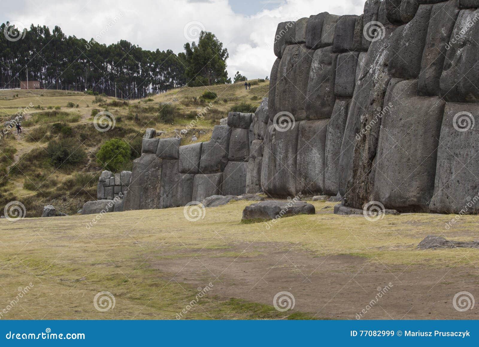 Sacsayhuaman墙壁的石制品,在库斯科,秘鲁