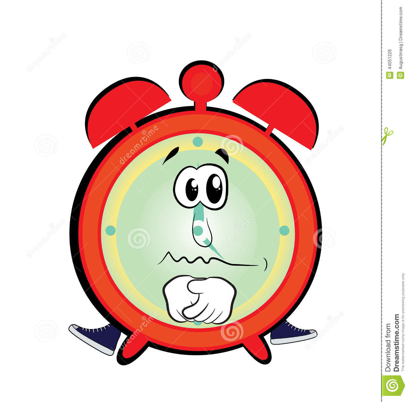 Sad Alarm Clock Cartoon Stock Illustration - Image: 44051226