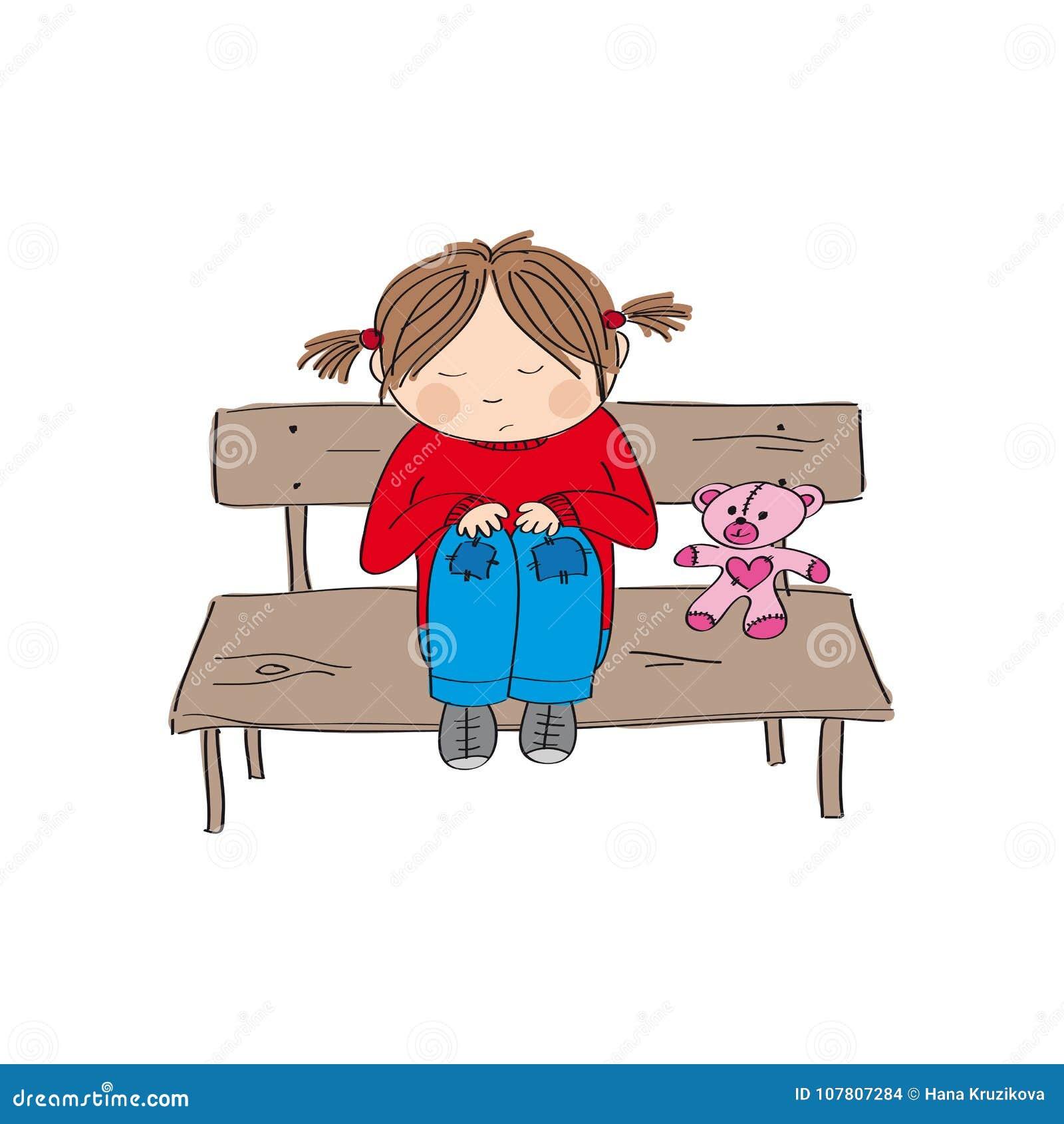 Sad lonely little girl stock illustrations 103 sad - Cartoon girl sitting alone ...