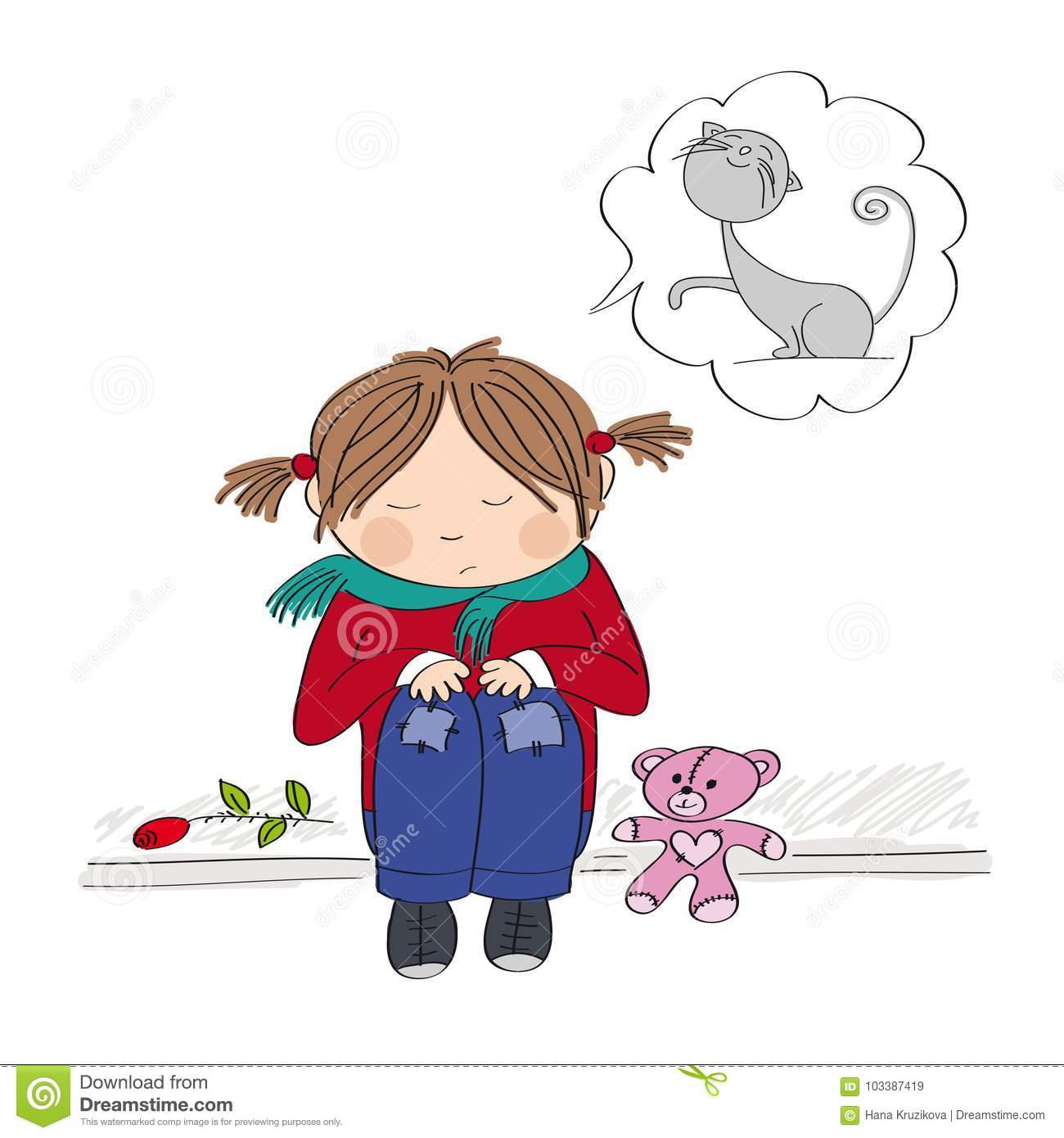 Sad and alone little girl sitting on the pavement crying - Cartoon girl sitting alone ...