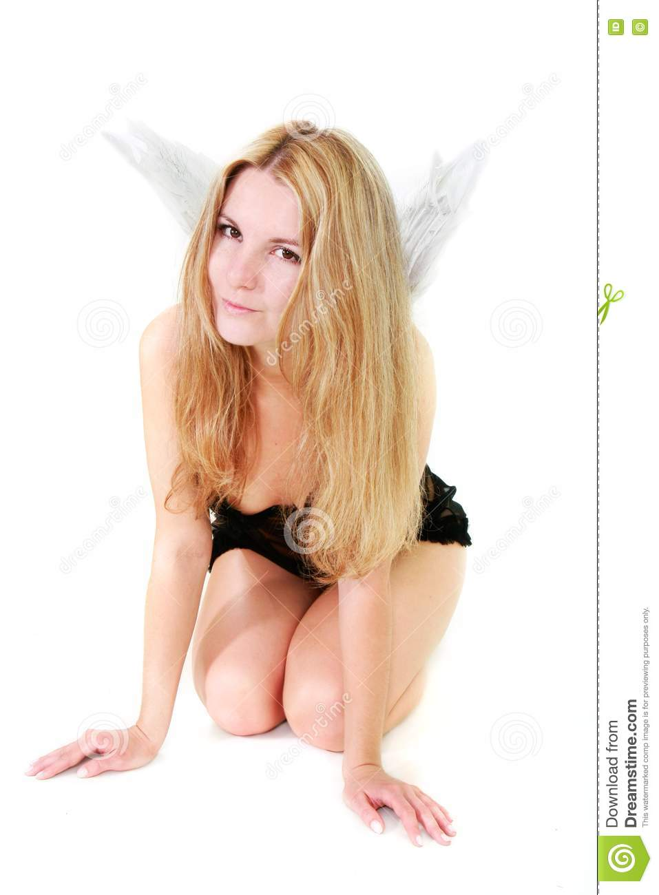 royalty free stock photography angel in black lingerie with male