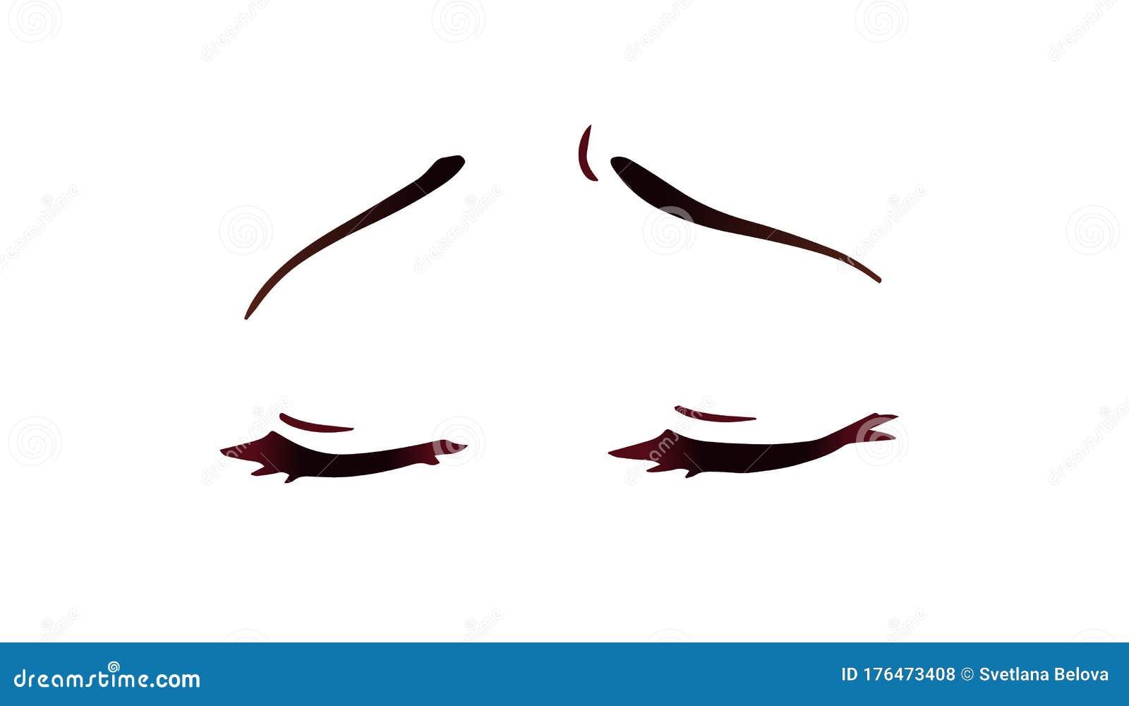 Sad Anime Face Manga Style Closed Eyes Hand Drawn Vector Cartoon Illustration Stock Vector Illustration Of Japanese Dramatic 176473408