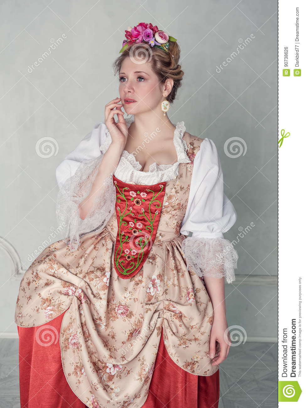 45d88294b7 Sad Beautiful Woman In Old-fashioned Medieval Dress Stock Photo ...