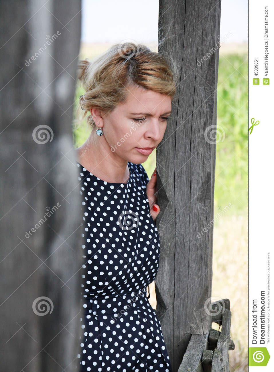 Sad Beautiful Woman With Wistful Expression Stock Image ...